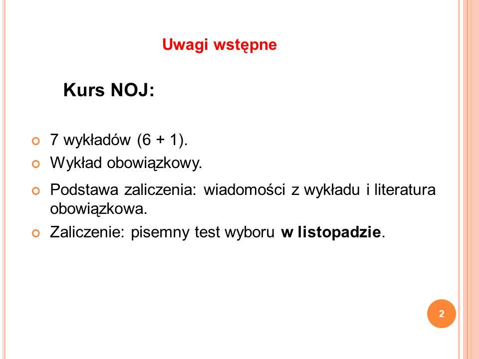 Kurs NOJ: Uwagi wstępne 7 wykładów (6 + 1). Wykład obowiązkowy.