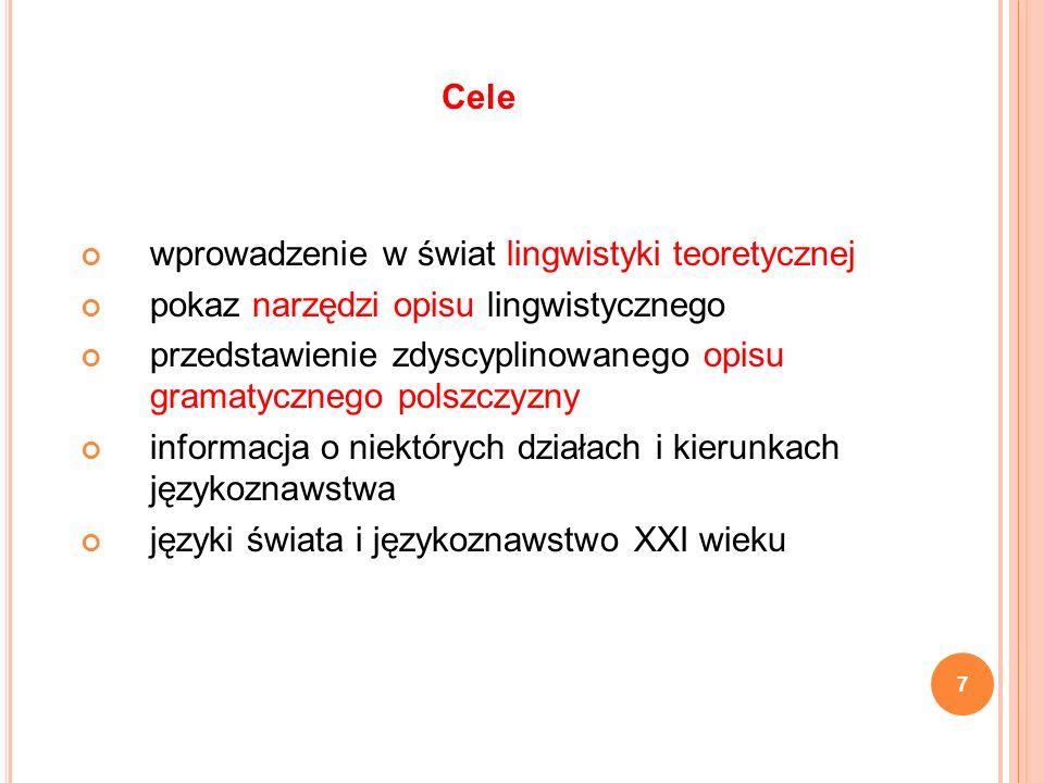 Cele wprowadzenie w świat lingwistyki teoretycznej. pokaz narzędzi opisu lingwistycznego.