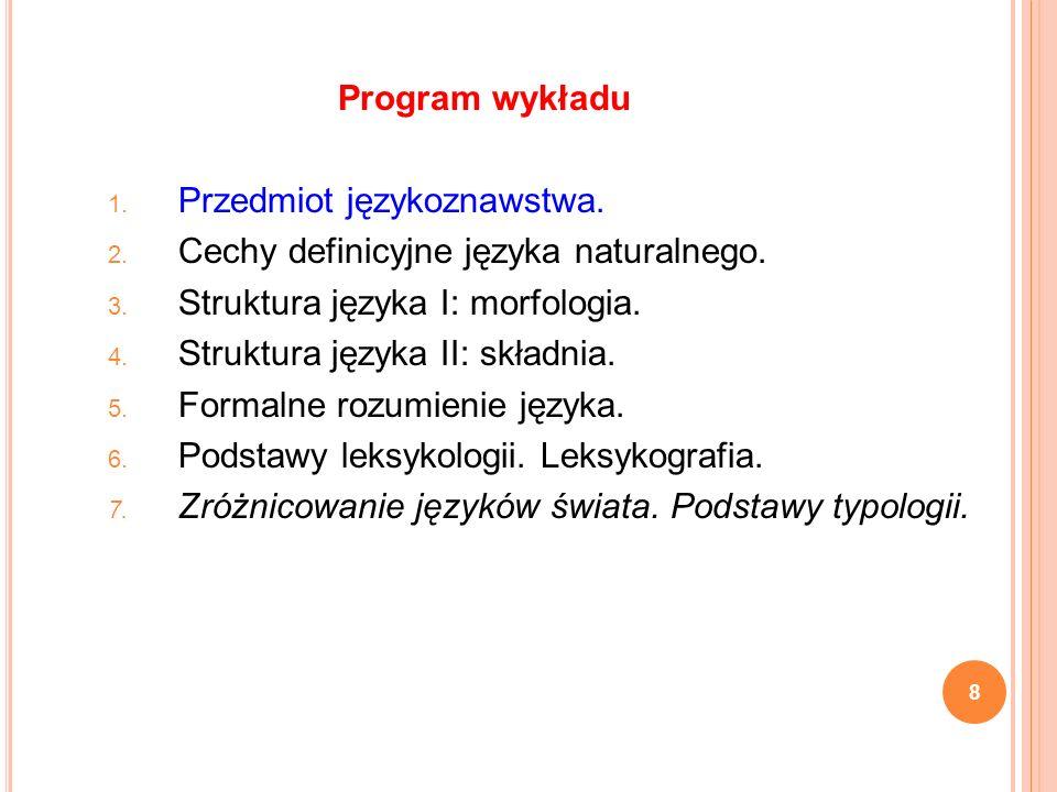 Program wykładu Przedmiot językoznawstwa. Cechy definicyjne języka naturalnego. Struktura języka I: morfologia.