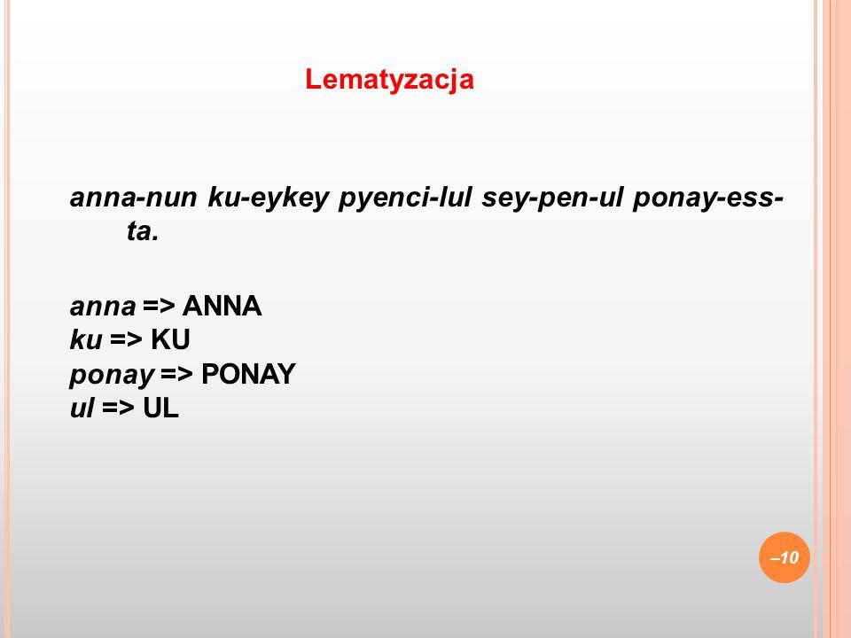 Lematyzacja anna-nun ku-eykey pyenci-lul sey-pen-ul ponay-ess- ta.