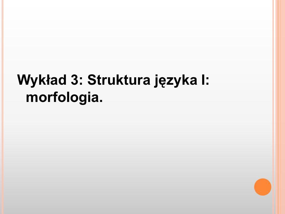 Wykład 3: Struktura języka I: morfologia.