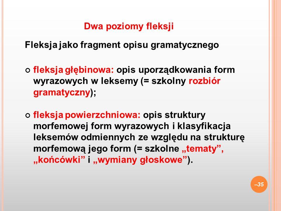 Dwa poziomy fleksji Fleksja jako fragment opisu gramatycznego.
