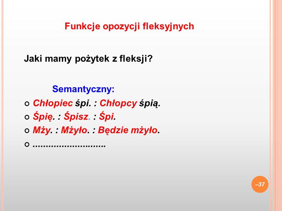 Funkcje opozycji fleksyjnych