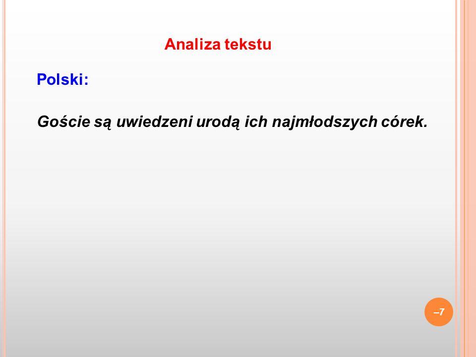 Analiza tekstu Polski: Goście są uwiedzeni urodą ich najmłodszych córek.
