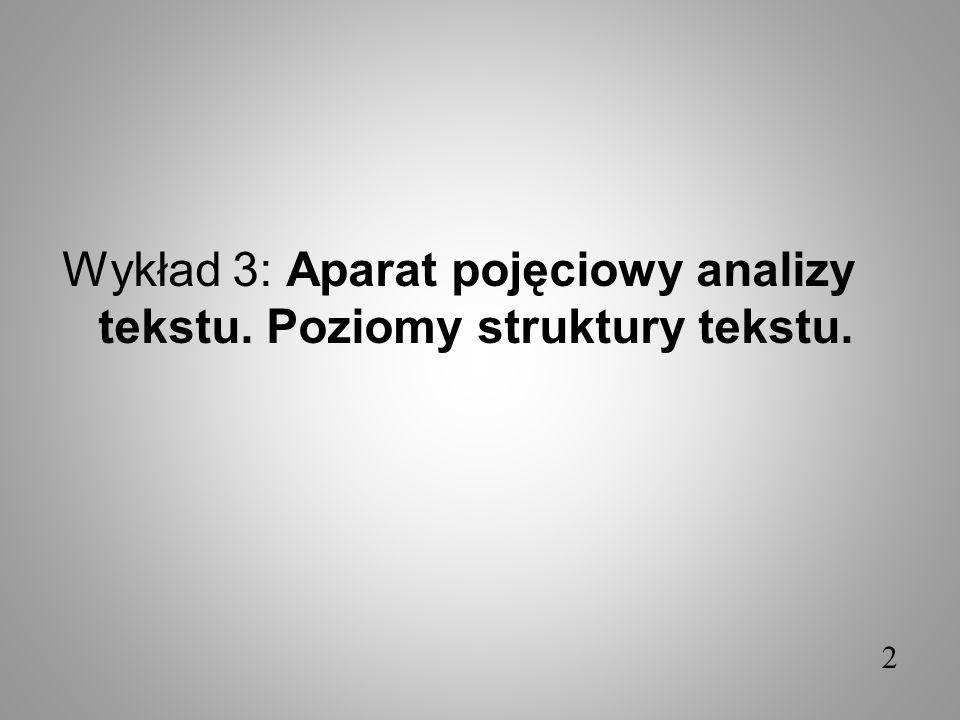 Wykład 3: Aparat pojęciowy analizy tekstu. Poziomy struktury tekstu.