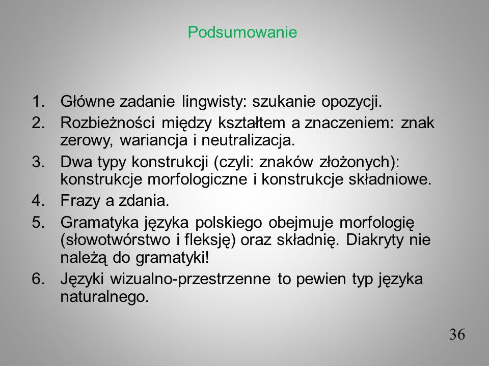 Podsumowanie Główne zadanie lingwisty: szukanie opozycji. Rozbieżności między kształtem a znaczeniem: znak zerowy, wariancja i neutralizacja.