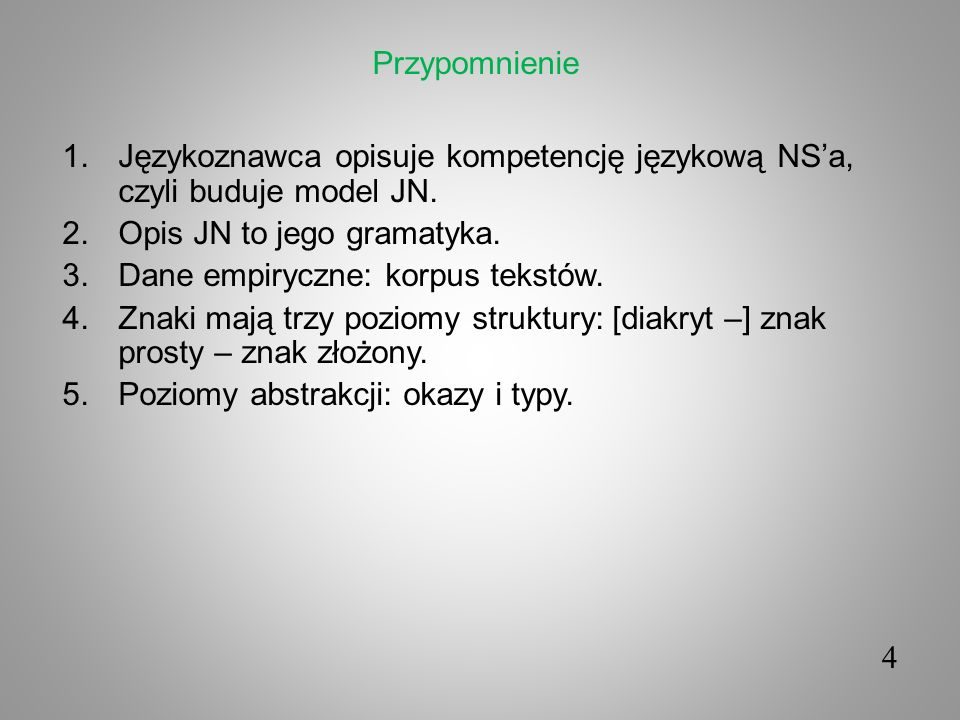 Przypomnienie Językoznawca opisuje kompetencję językową NS'a, czyli buduje model JN. Opis JN to jego gramatyka.
