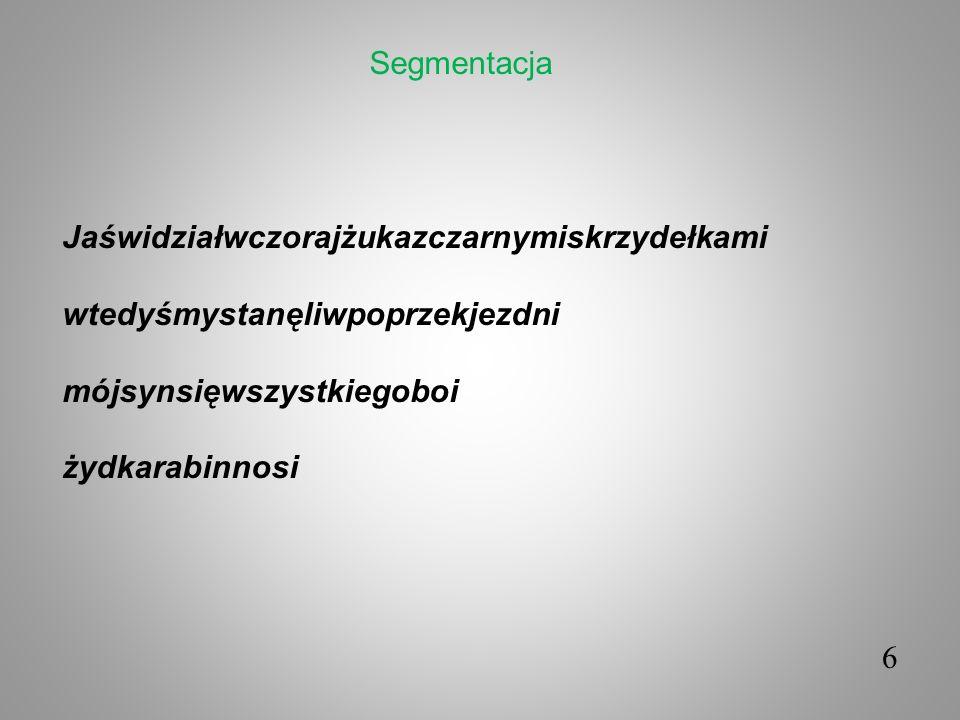 Segmentacja Jaświdziałwczorajżukazczarnymiskrzydełkami. wtedyśmystanęliwpoprzekjezdni. mójsynsięwszystkiegoboi.