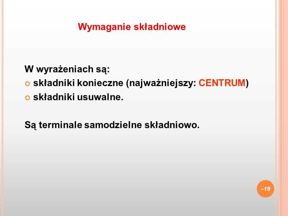 Wymaganie składniowe W wyrażeniach są: składniki konieczne (najważniejszy: CENTRUM) składniki usuwalne.