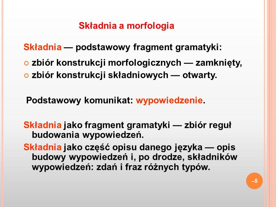 Składnia a morfologia Składnia — podstawowy fragment gramatyki: zbiór konstrukcji morfologicznych — zamknięty,