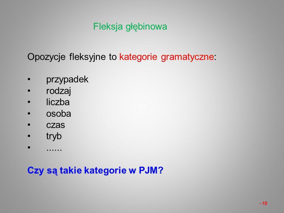Fleksja głębinowa Opozycje fleksyjne to kategorie gramatyczne: przypadek. rodzaj. liczba. osoba.