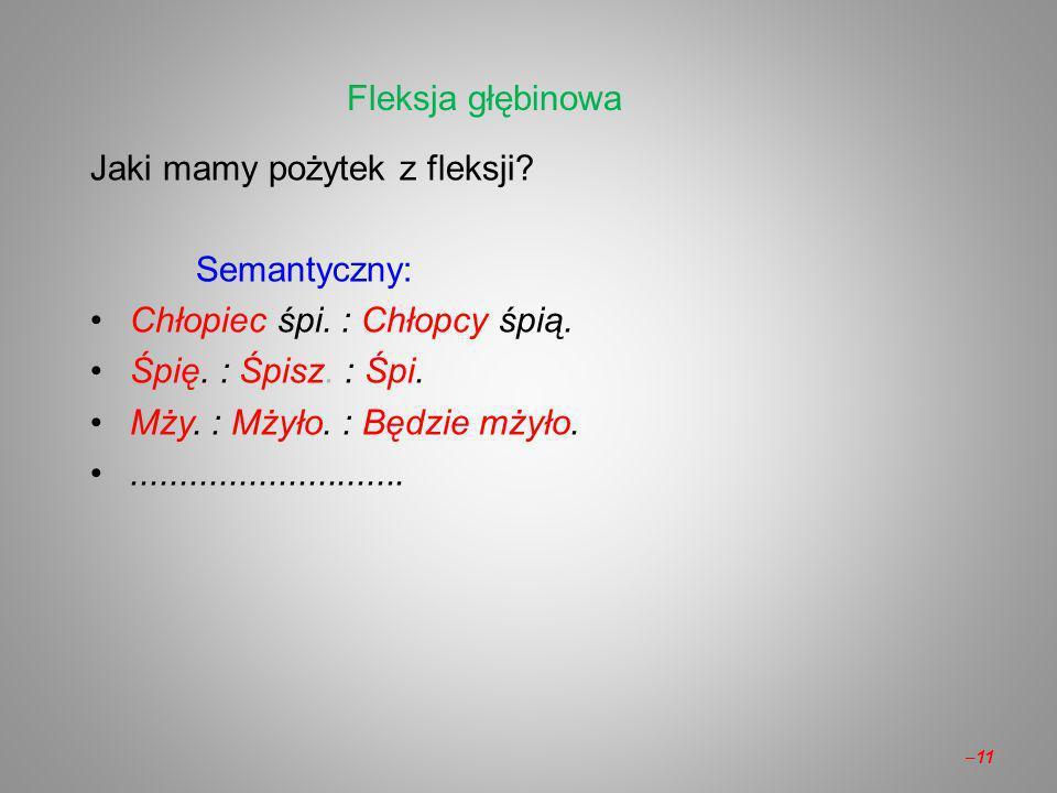 Fleksja głębinowa Jaki mamy pożytek z fleksji Semantyczny: Chłopiec śpi. : Chłopcy śpią. Śpię. : Śpisz. : Śpi.