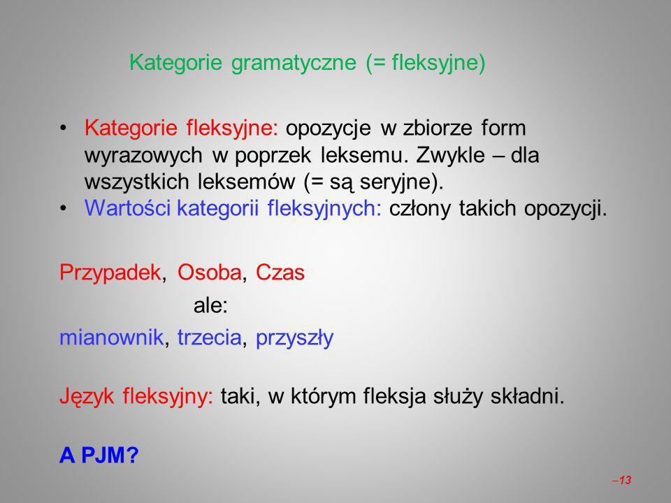 Kategorie gramatyczne (= fleksyjne)
