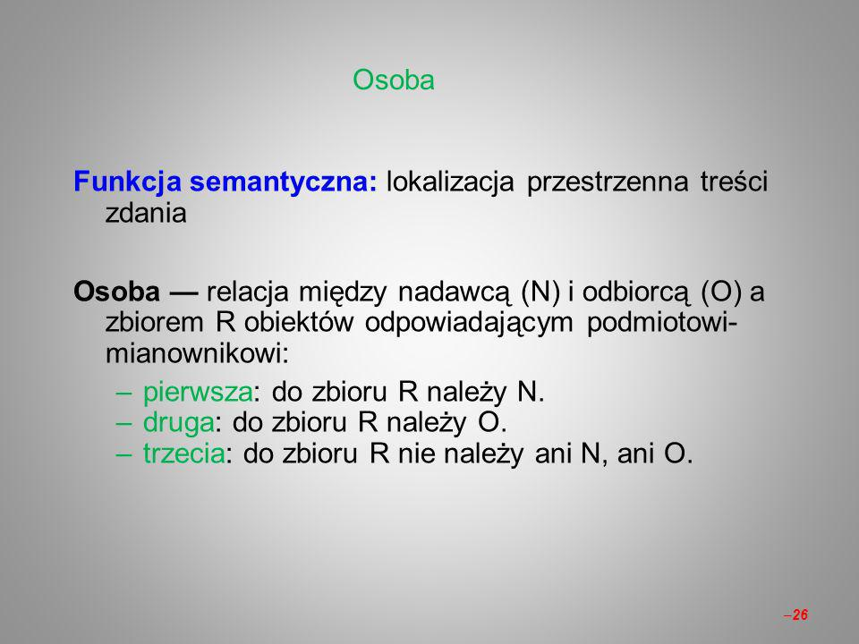 Osoba Funkcja semantyczna: lokalizacja przestrzenna treści zdania.