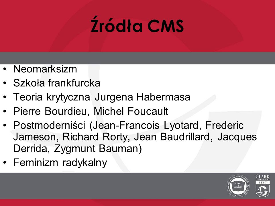Źródła CMS Neomarksizm Szkoła frankfurcka