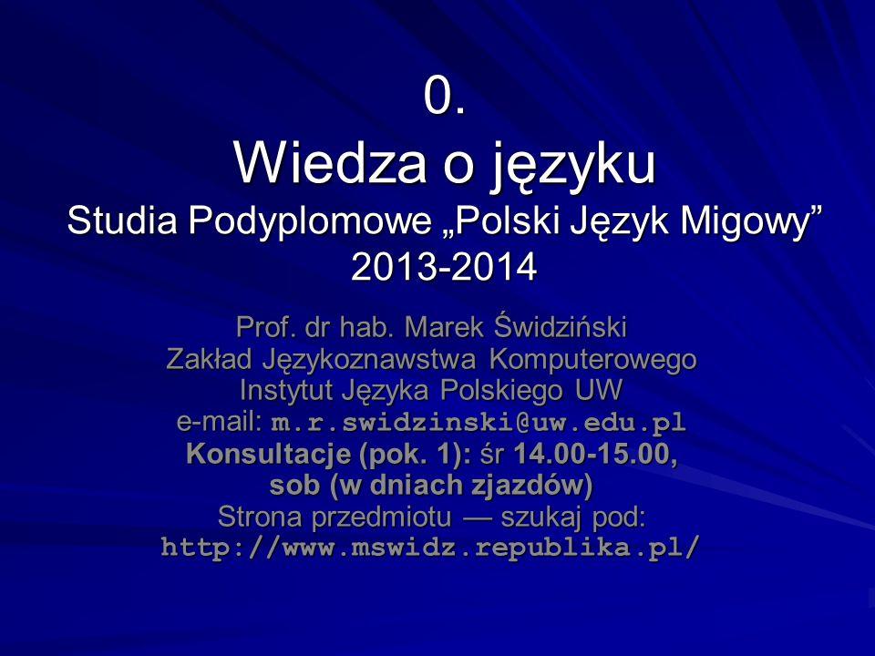 """0. Wiedza o języku Studia Podyplomowe """"Polski Język Migowy 2013-2014"""