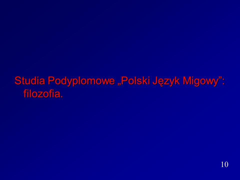 """Studia Podyplomowe """"Polski Język Migowy : filozofia."""