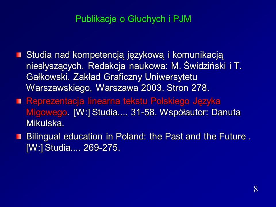Publikacje o Głuchych i PJM