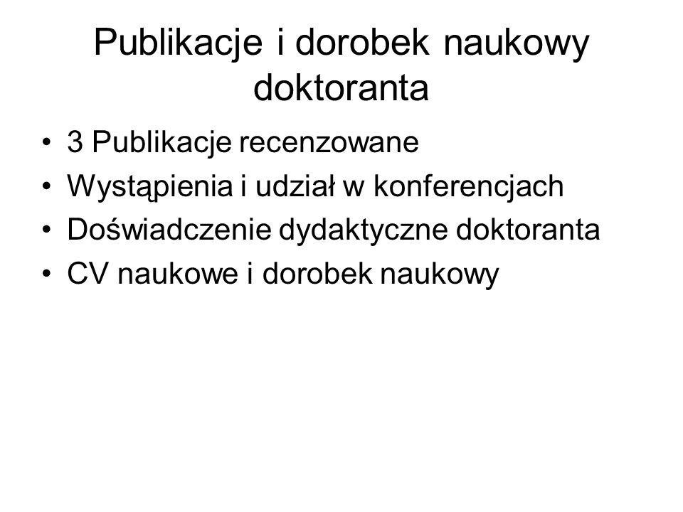 Publikacje i dorobek naukowy doktoranta