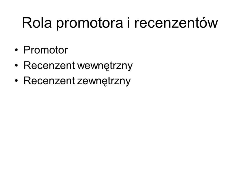 Rola promotora i recenzentów