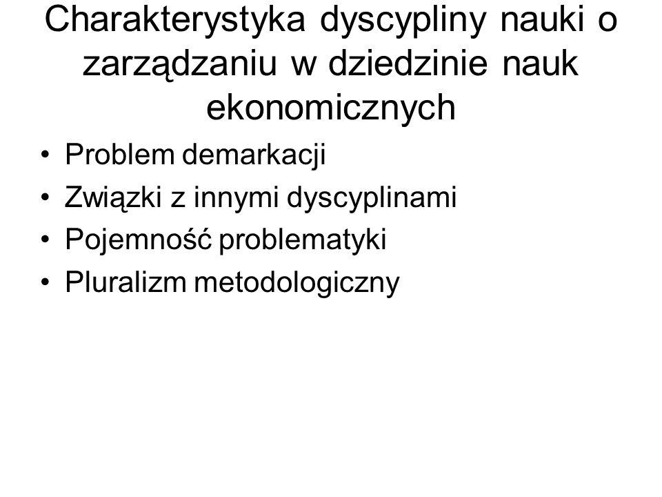 Charakterystyka dyscypliny nauki o zarządzaniu w dziedzinie nauk ekonomicznych