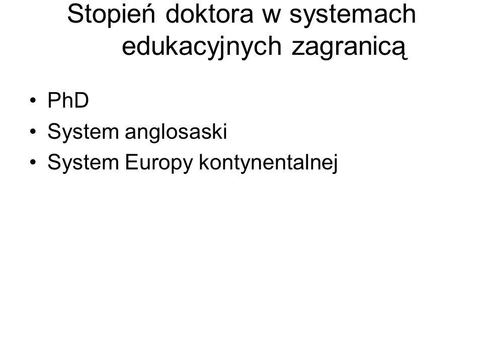 Stopień doktora w systemach edukacyjnych zagranicą