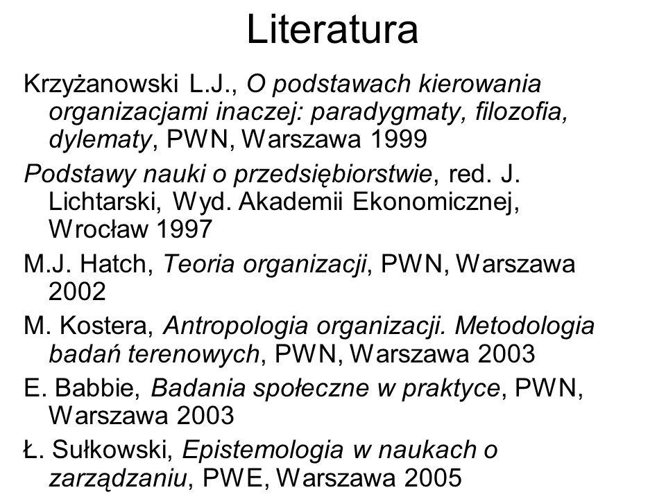 Literatura Krzyżanowski L.J., O podstawach kierowania organizacjami inaczej: paradygmaty, filozofia, dylematy, PWN, Warszawa 1999.