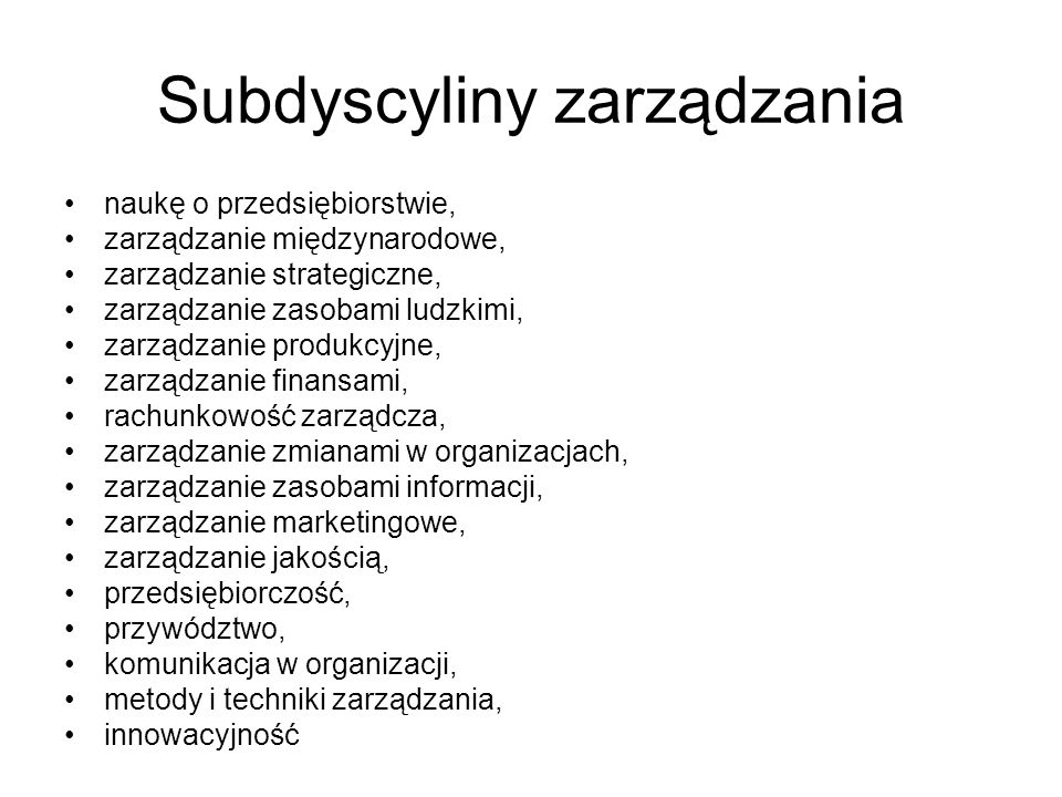 Subdyscyliny zarządzania