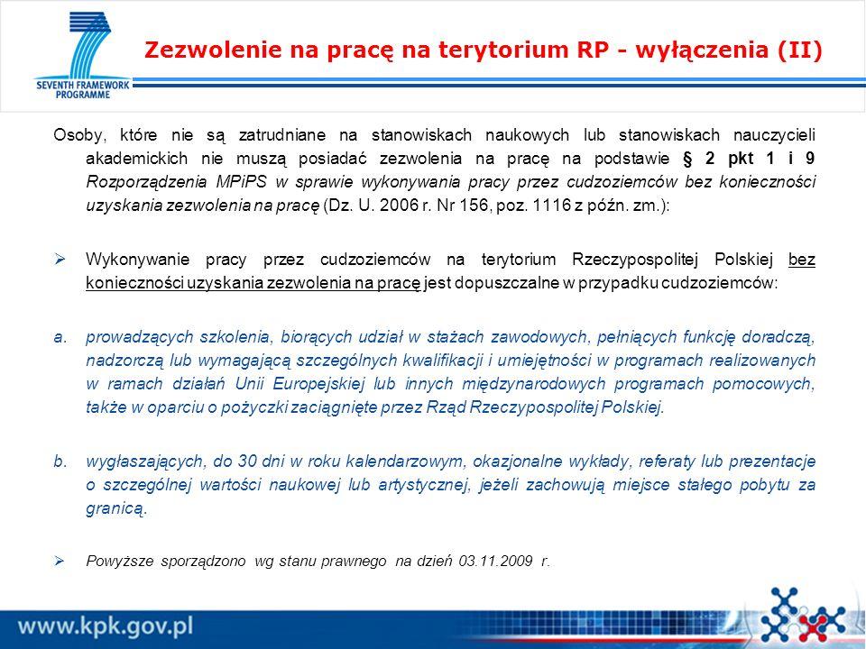Zezwolenie na pracę na terytorium RP - wyłączenia (II)