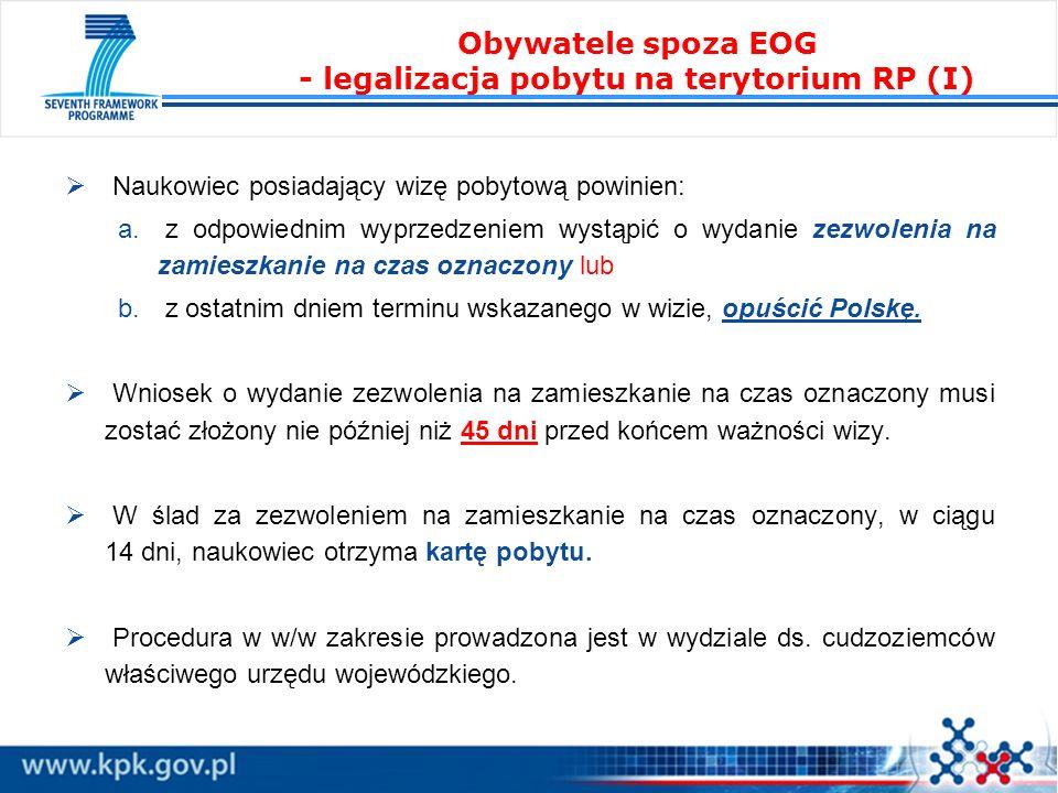 Obywatele spoza EOG - legalizacja pobytu na terytorium RP (I)