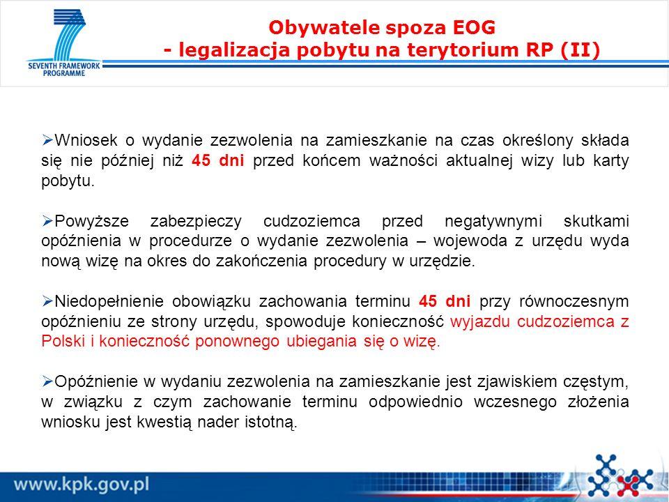 Obywatele spoza EOG - legalizacja pobytu na terytorium RP (II)