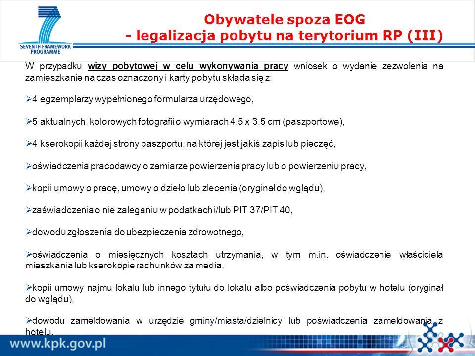 Obywatele spoza EOG - legalizacja pobytu na terytorium RP (III)