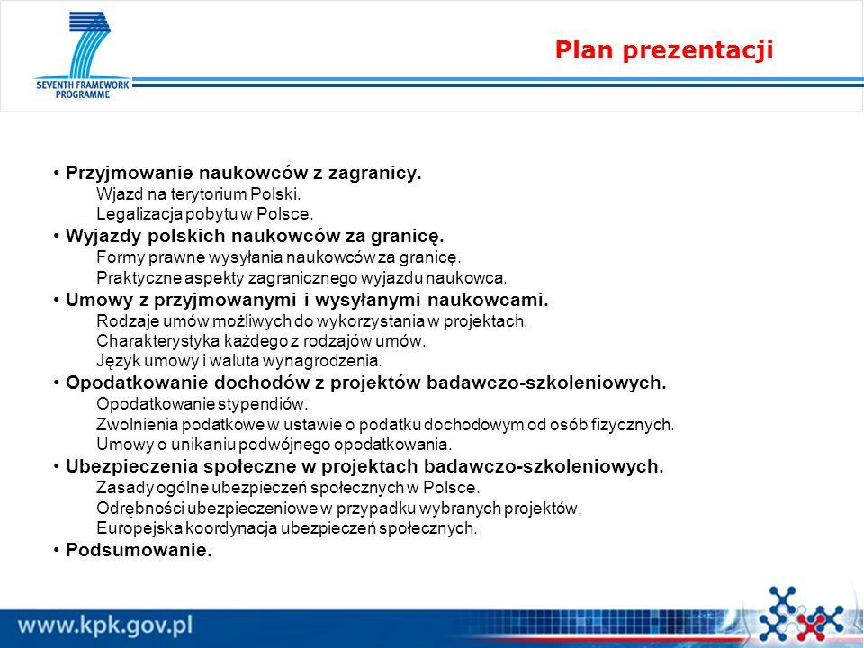 Plan prezentacji Przyjmowanie naukowców z zagranicy.