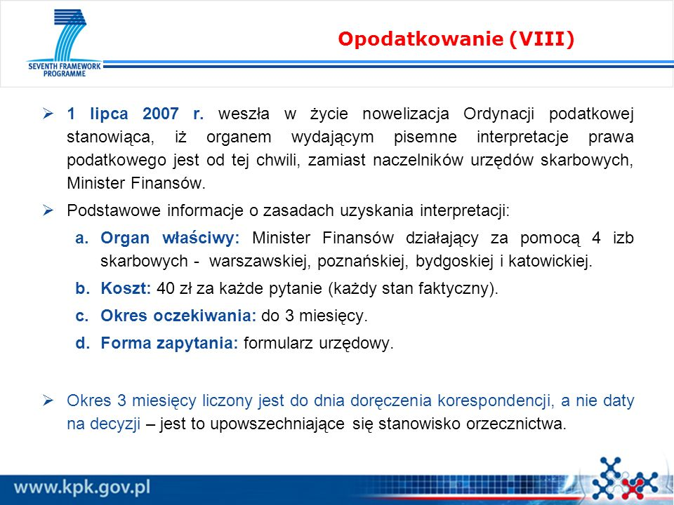 Opodatkowanie (VIII)