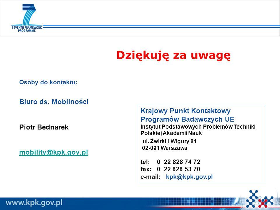 Dziękuję za uwagę Osoby do kontaktu: Biuro ds. Mobilności Piotr Bednarek mobility@kpk.gov.pl.