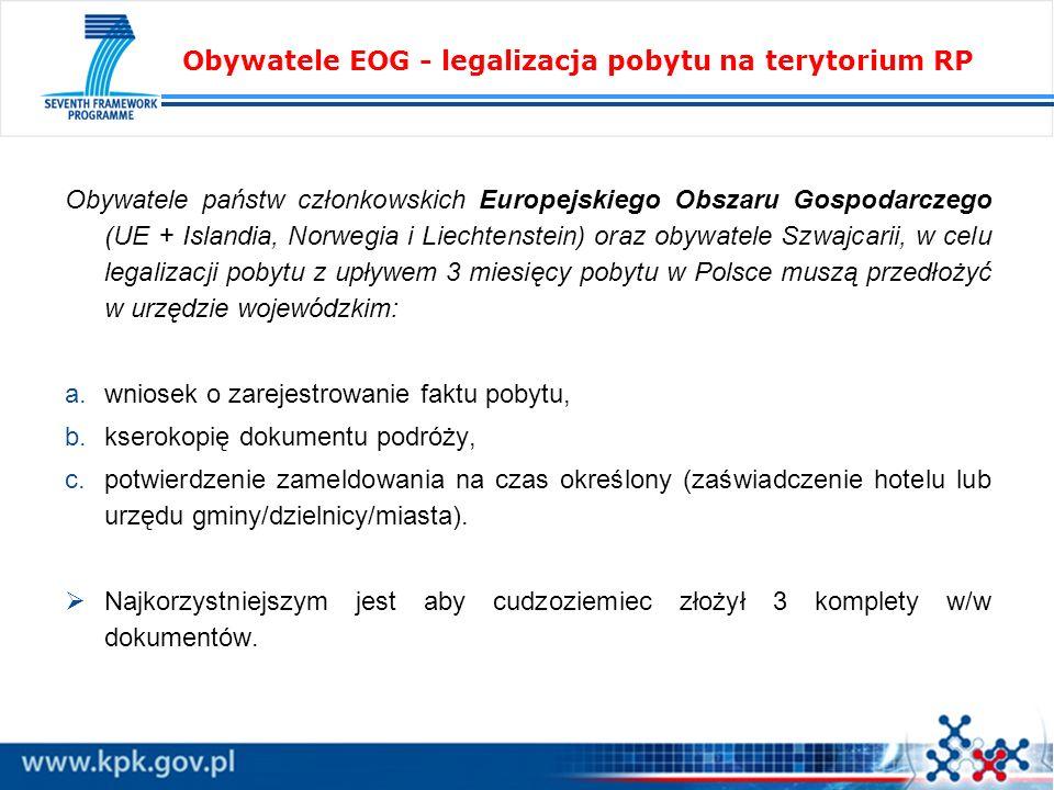Obywatele EOG - legalizacja pobytu na terytorium RP