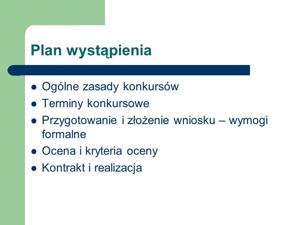 Plan wystąpienia Ogólne zasady konkursów Terminy konkursowe