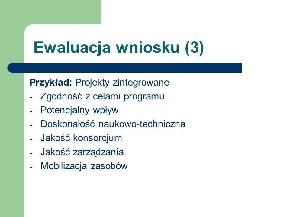 Ewaluacja wniosku (3) Przykład: Projekty zintegrowane