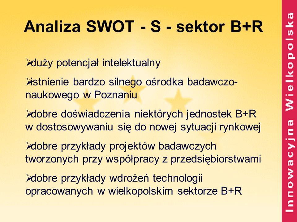 Analiza SWOT - S - sektor B+R