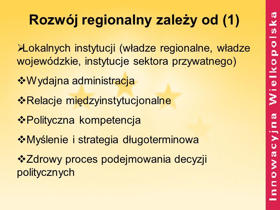 Rozwój regionalny zależy od (1)