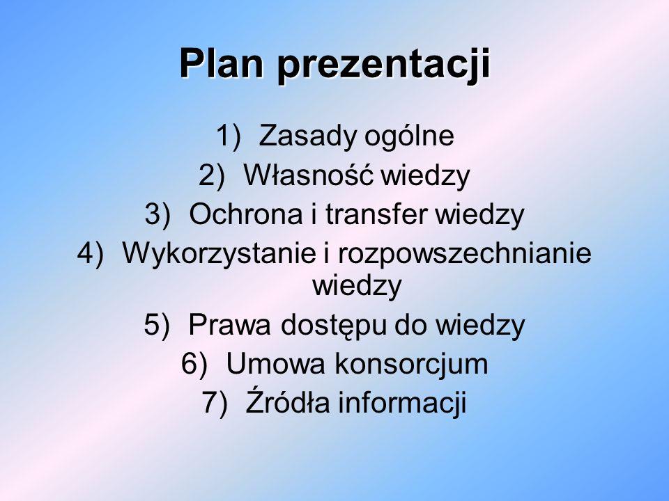 Plan prezentacji Zasady ogólne Własność wiedzy