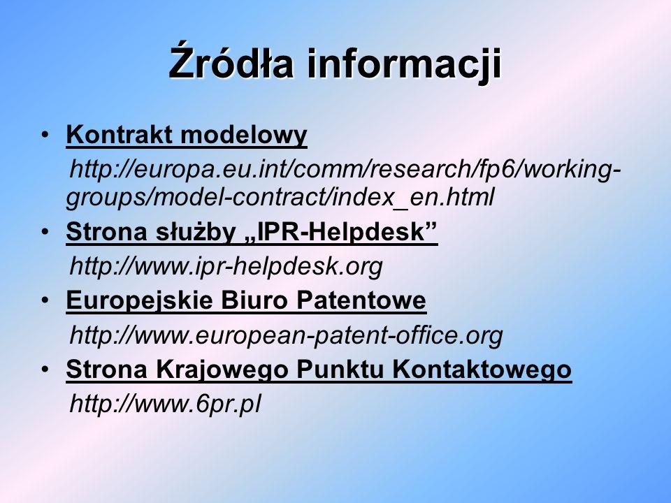 Źródła informacji Kontrakt modelowy