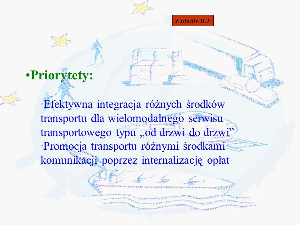 """Zadanie II.3 Priorytety: Efektywna integracja różnych środków transportu dla wielomodalnego serwisu transportowego typu """"od drzwi do drzwi"""