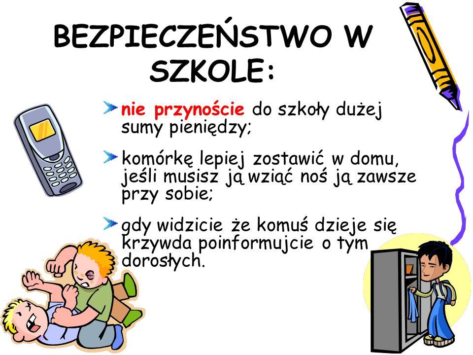 BEZPIECZEŃSTWO W SZKOLE: