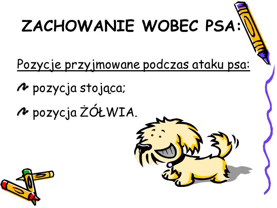 ZACHOWANIE WOBEC PSA: Pozycje przyjmowane podczas ataku psa: