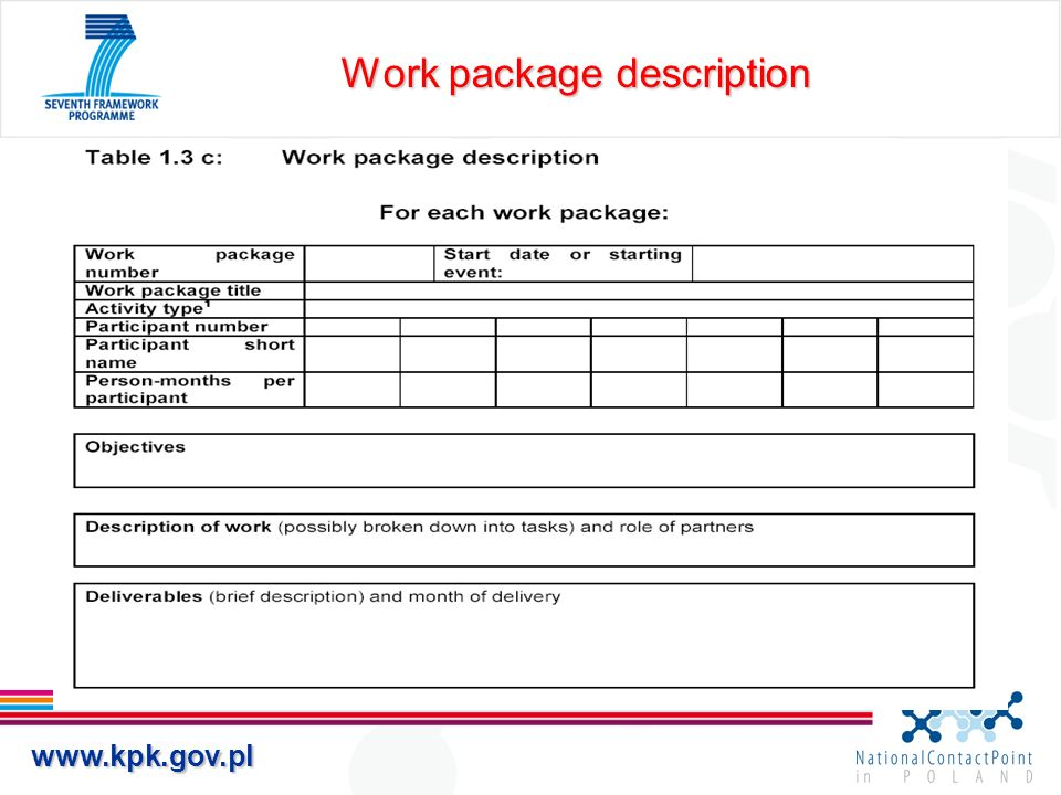 Work package description