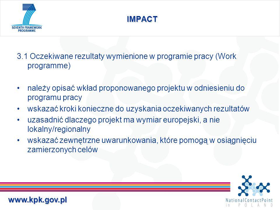 IMPACT 3.1 Oczekiwane rezultaty wymienione w programie pracy (Work programme)