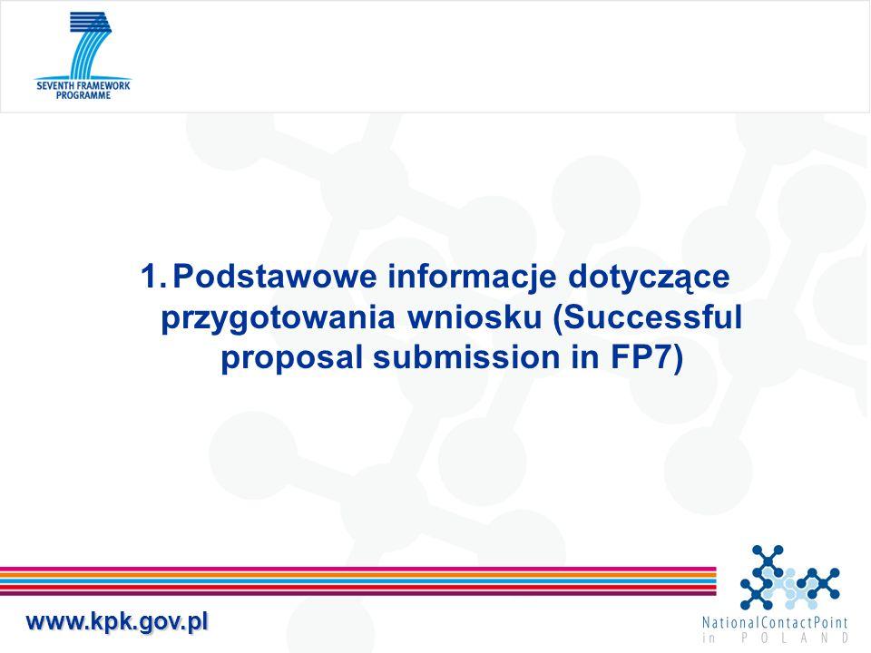 Podstawowe informacje dotyczące przygotowania wniosku (Successful proposal submission in FP7)