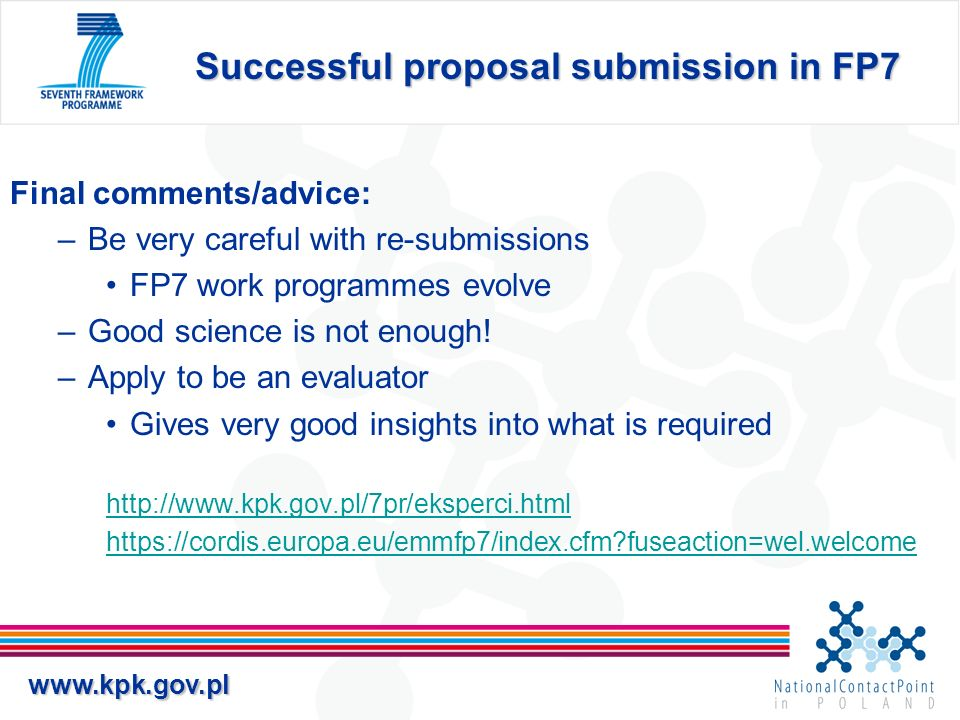 Successful proposal submission in FP7