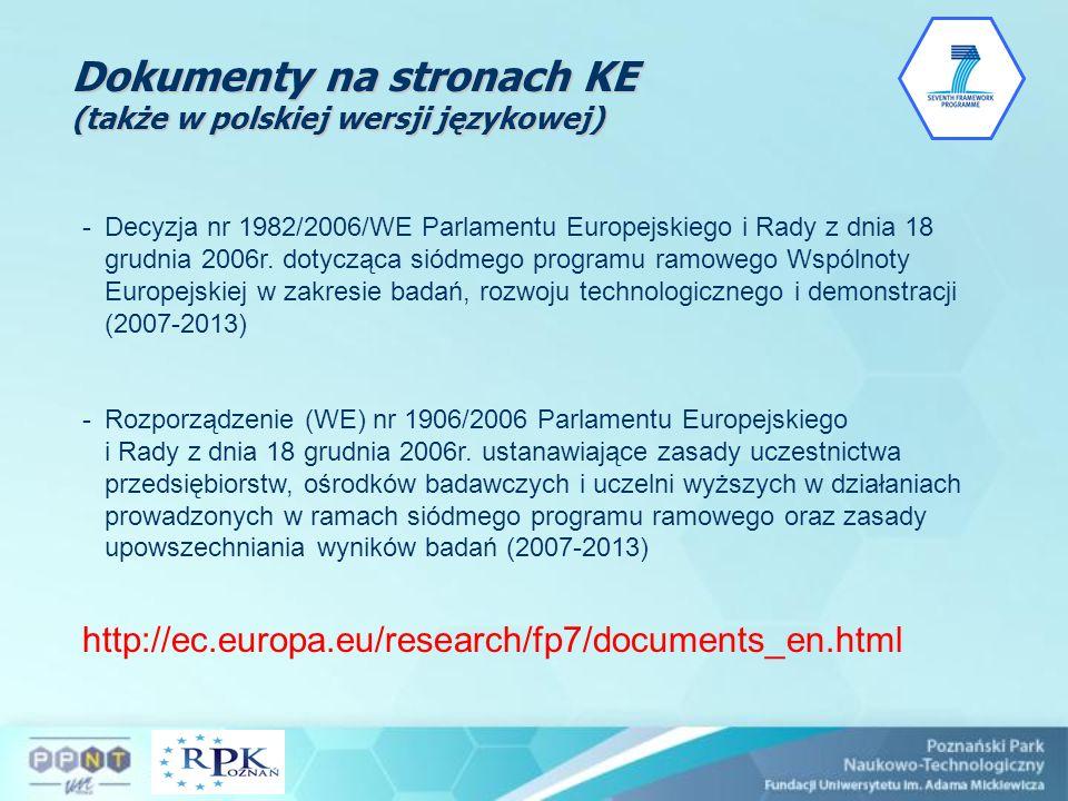 Dokumenty na stronach KE